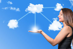 Cloud computing and Women royalty free stock photos