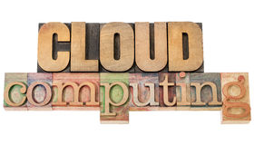 Cloud computing in wood type Stock Photo