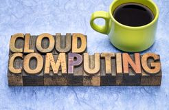 Cloud computing word abstract in wood type royalty free stock photos