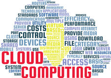 Cloud Computing Word Cloud Text Illustration in shape of a Cloud. Royalty Free Stock Image