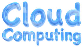 Cloud computing word with sky texture Stock Photos