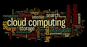 Cloud computing in word tag cloud Royalty Free Stock Images