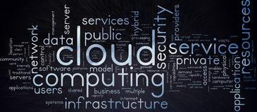 Cloud Computing. Word tag cloud, with cloud effect text, and subtle technical effect background Royalty Free Stock Images