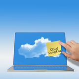 Cloud Computing words on sticky note with laptop computer Stock Photos