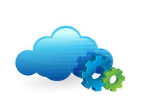 Cloud computing and working gears. illustration Stock Photos