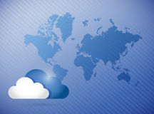 Cloud computing world map concept illustration. Design background Royalty Free Stock Photography
