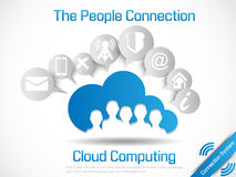 Cloud computing world. People connecting system Stock Photos