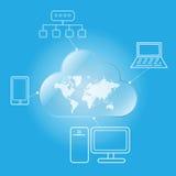 Cloud computing worldwide. Via desktop laptop mobile and network Stock Image