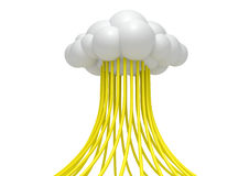 Cloud Computing With Yellow Cables vector illustration