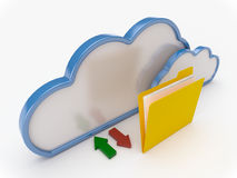 Cloud Computing With Yellow Folder Royalty Free Stock Image