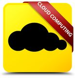 Cloud computing yellow square button red ribbon in corner. Cloud computing isolated on yellow square button with red ribbon in corner abstract illustration Stock Photography