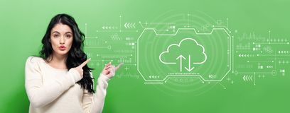 Cloud computing with young woman stock images