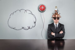 Cloud concept with alert light and vintage businessman Stock Images