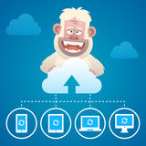 Cloud concept communication devices and character Yeti Stock Photos