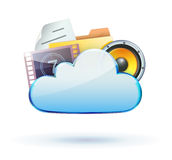 Cloud concept icon. Vector illustration of cool cloud based media sharing concept icon Royalty Free Stock Photos