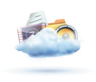 Cloud concept icon. Vector illustration of cool cloud based media sharing concept icon Stock Photos