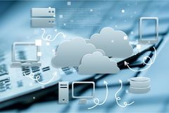 Cloud service icon with options and devices Stock Image