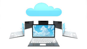 Cloud concept with six laptops Royalty Free Stock Photos