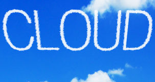 Cloud concept written on the blue sky Royalty Free Stock Image