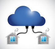 Cloud connected to a set of homes. illustration Stock Photography