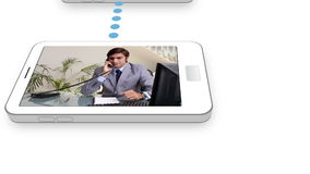 Cloud connected to smartphones with business videos Stock Photo