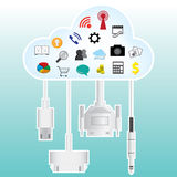 Cloud connecting with connector Stock Images