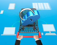 Cloud connecting security concept, lock on shopping cart with dr Royalty Free Stock Photo