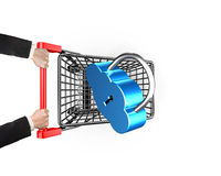 Cloud connecting security concept, lock on shopping cart with ha Stock Images