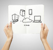 Cloud connection. In book on a white background Royalty Free Stock Images