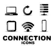 Cloud connection glossy black icon set Royalty Free Stock Photo