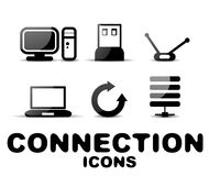 Cloud connection glossy black icon set Stock Photo