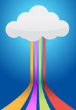 Cloud and connection path. Illustration design over a blue background Stock Photo