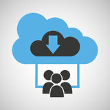 Cloud connection social media group download Stock Image