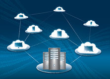 Cloud Connectivity. Cloud computing and connectivity concept with servers, computer, laptop, tablet and smartphone royalty free illustration