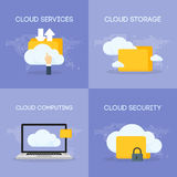Cloud coputing storage service and security banner concept. Vector illustration Stock Photos