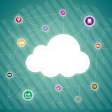 Cloud Copyspace. Vector copyspace background illustration of cloud and app concept royalty free illustration