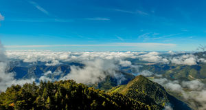 The cloud cover covers the views from the Sobrepuny.  stock photos
