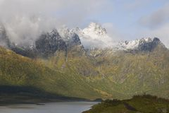 Cloud cover on mountains Lofoten Islands Norway Royalty Free Stock Photo