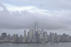 Cloud cover NYC. A cloud cover over Freedom towers NYC Royalty Free Stock Photo