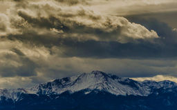 Cloud cover over Pikes Peak, CO Stock Images