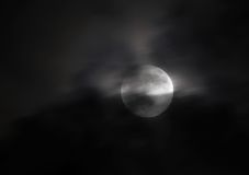 Cloud cover during partial lunar eclipse at 20:51:09 on 25 April 2013, Bahrain Stock Image