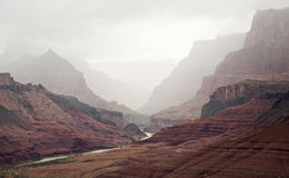 Cloud Covered Grand Canyon Stock Images