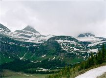 Cloud Covered Mountain Glacier National Park Royalty Free Stock Images