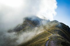 Cloud Covered Mountain Top on Landscape Photography Royalty Free Stock Photography