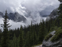 Cloud Covered Mountains. Clouds rolling through the Rocky Mountains Royalty Free Stock Photography