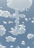 Cloud Cross in Sky. Cloud Cross in Blue Sky Stock Images