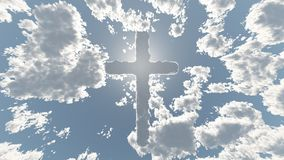 Cloud Cross in Sky. Religious composition. Cloud Cross in Sky, Shining light stock illustration