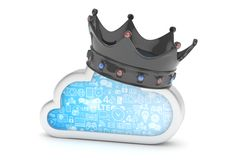 Cloud with crown. 3D rendering. Stock Photography