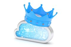 Cloud with crown. 3D rendering. Stock Image