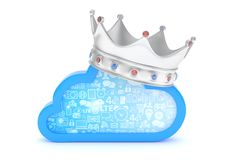 Cloud with crown. 3D rendering. Royalty Free Stock Photo